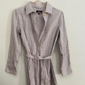 A.P.C. long sleeve plaid dress